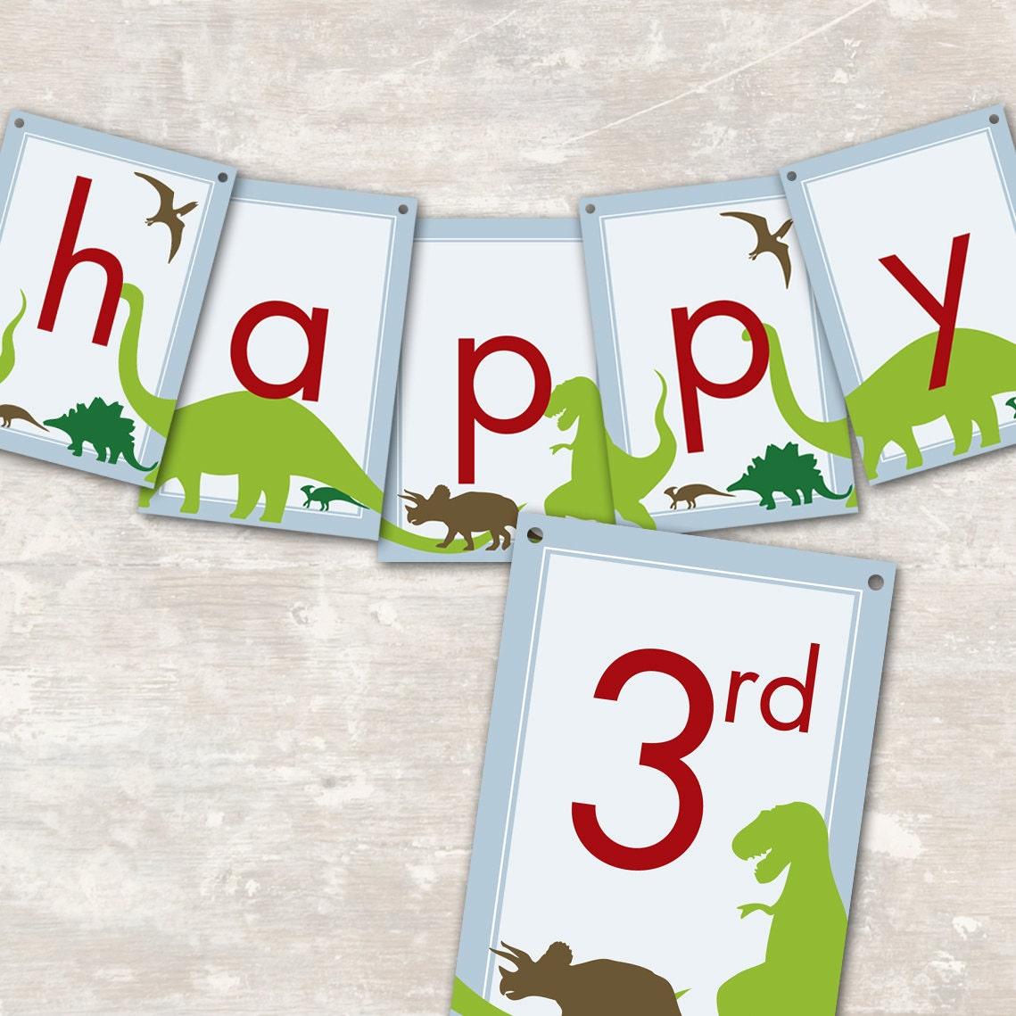 ... SHIP Dinosaur Dig Birthday Party Pennant Banner (
