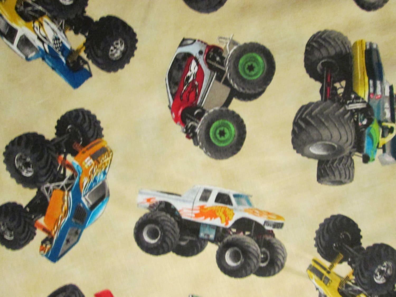 Monster trucks cream cotton fabric fq or custom for Monster truck fabric