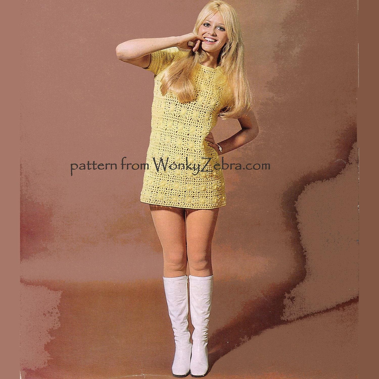 Vintage Crochet Pattern 208 PDF Mini Dress from WonkyZebra