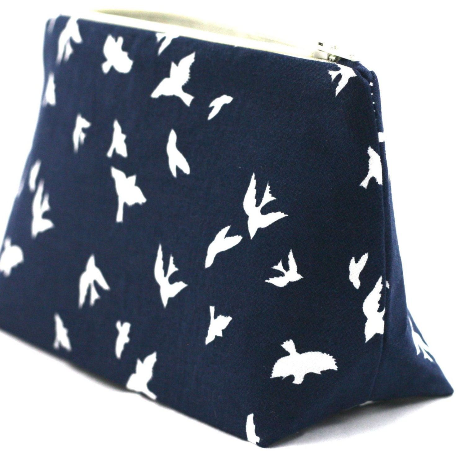 Bird Makeup Bag Navy Blue In Flight Print Handmade in USA: Pencil ...