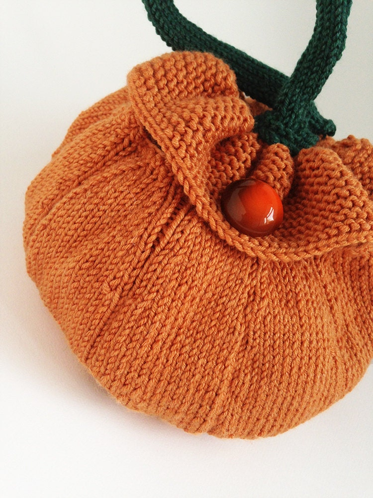 Knitted Pumpkin Pattern : Pumpkin Knitted Bag Pattern. PDF Download to Make by Scrumbobbly