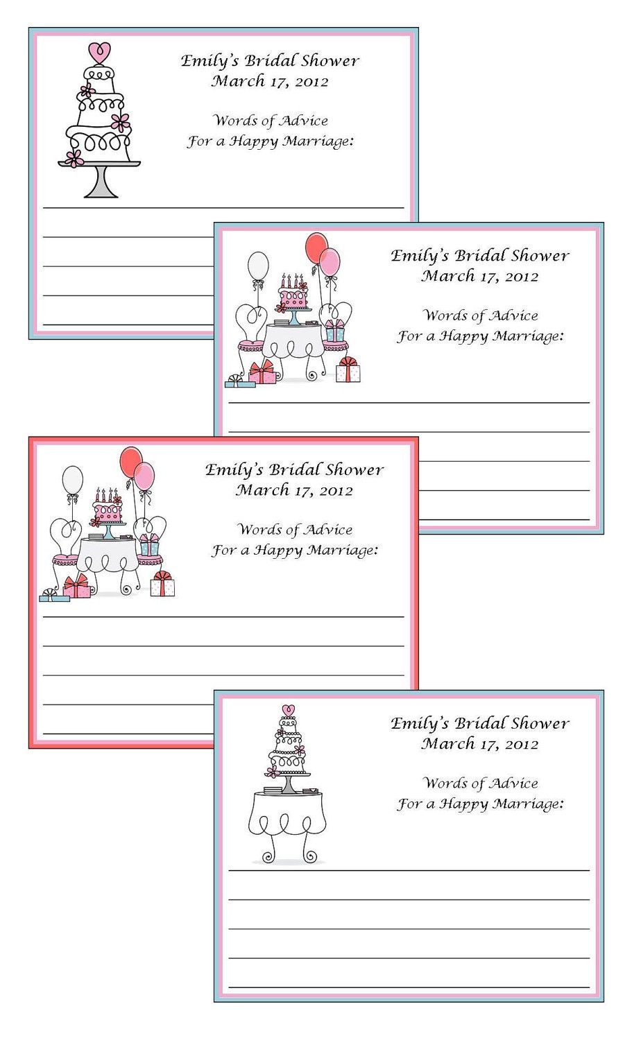personalized bridal shower advice cards by lovelypapercreations