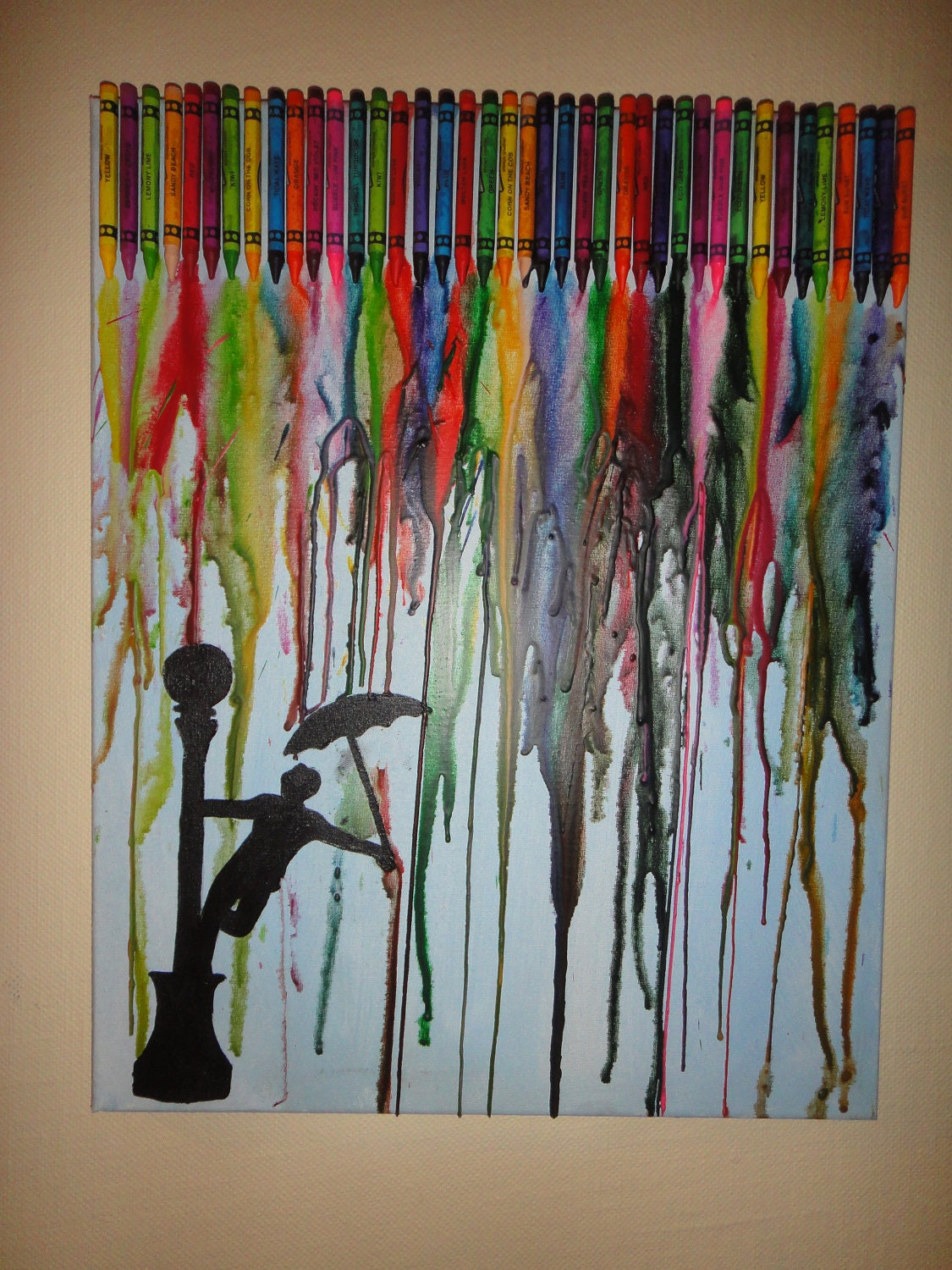 Singing in the crayons by autumna on etsy for Melted crayon art techniques
