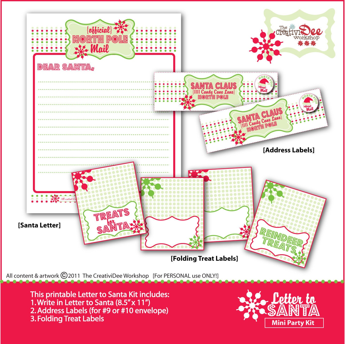 The Three Little Monkeys Studio Christmas Printable Letter From Santa ...