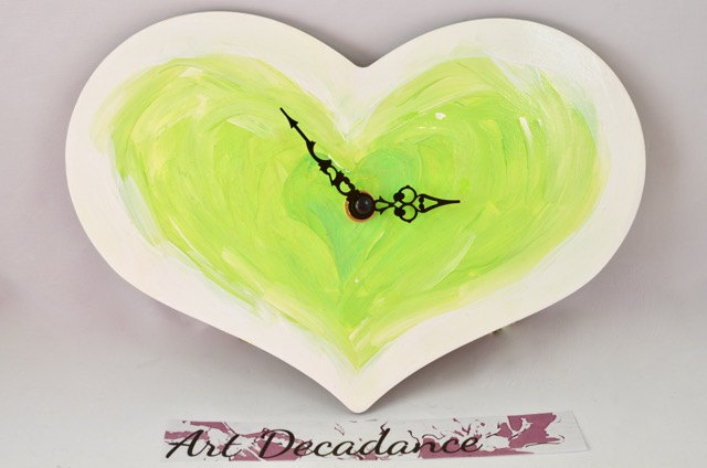 Lime Heart Wall Clock! Night Glow! Hand Painted Wood NonTicking Green clock Bedroom Decor Wood heart shaped clock Hand painted Heart