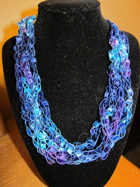 Crochet necklace made with ribbon ladder yarn in by rlittleton