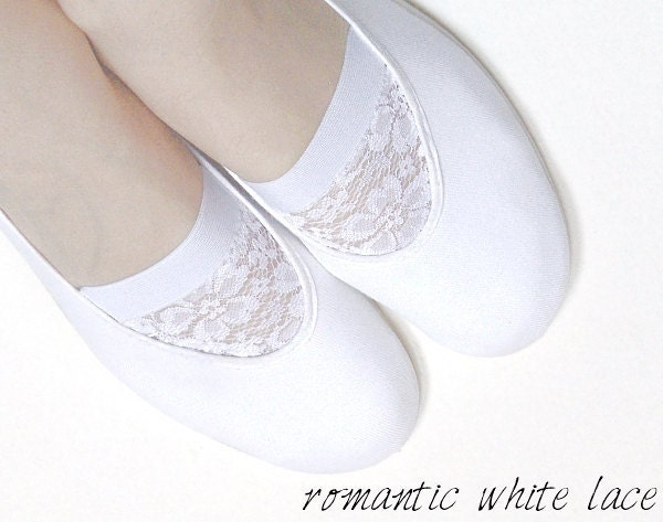 white LACE ballet flats shoes jarmilki wedding woman bride poletsy fashion