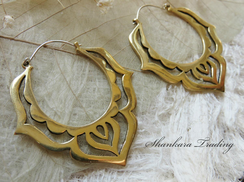 Brass Tribal Earrings Lotus Hoop Earrings Tribal Brass Earrings Gypsy Hoop Earrings Ethnic Earrings Belly Dance Jewelry Boho Earrings