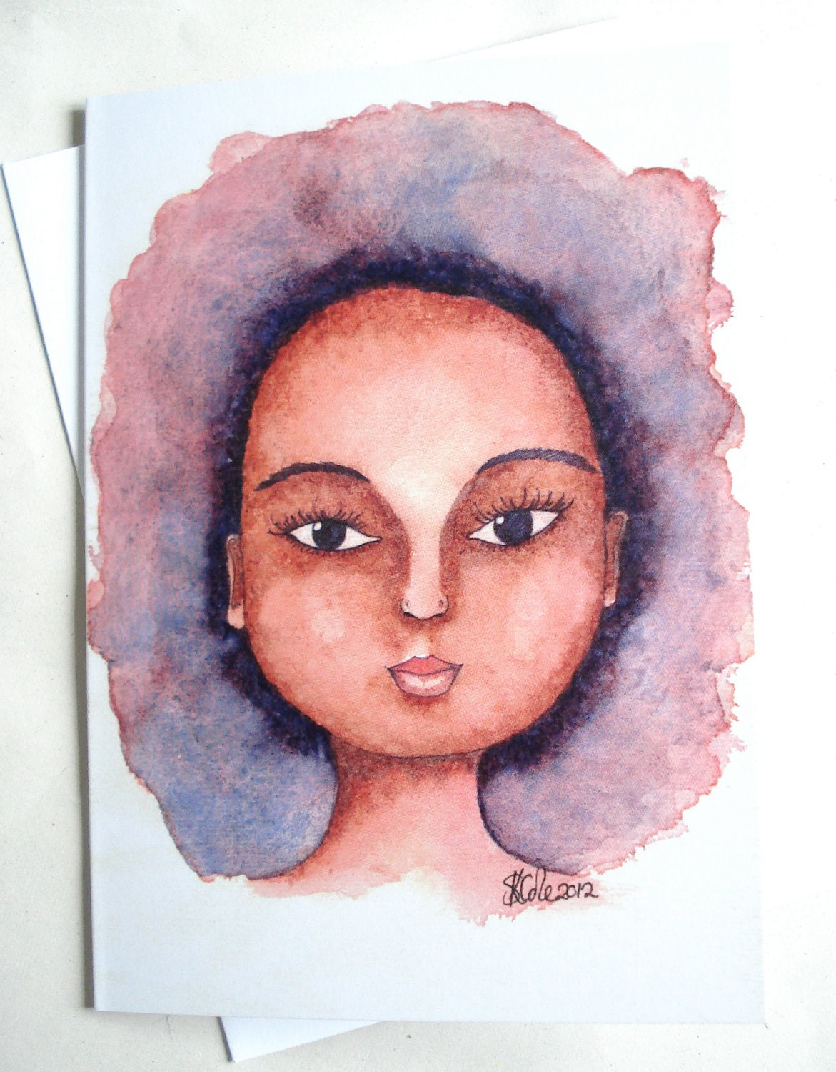 Watercolour Afro - Printed Greeting Card