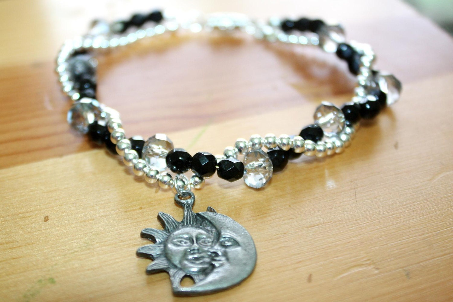 items similar to sun and moon pewter pendant bracelet with