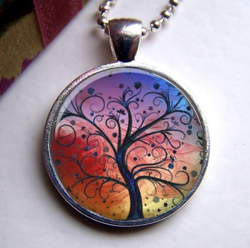Tree Pendant - Whimsical Tree Art Pendant - ShimmerCreek