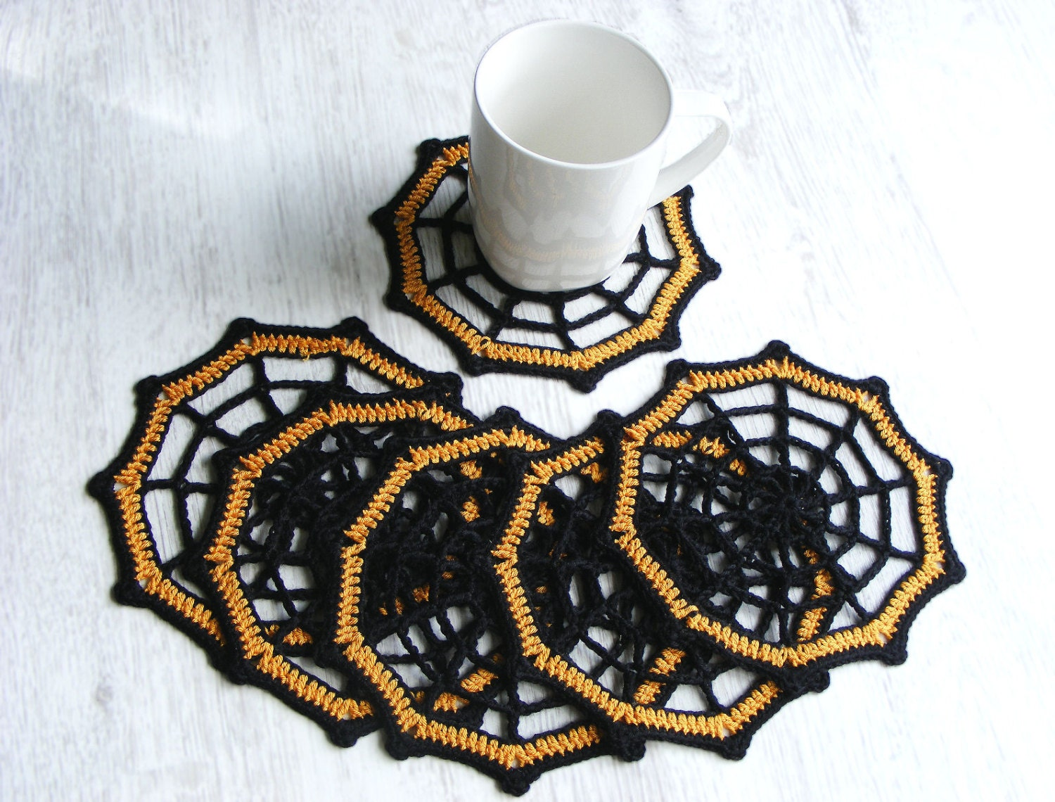 halloween coasters set of 6 crochet spider web coasters by