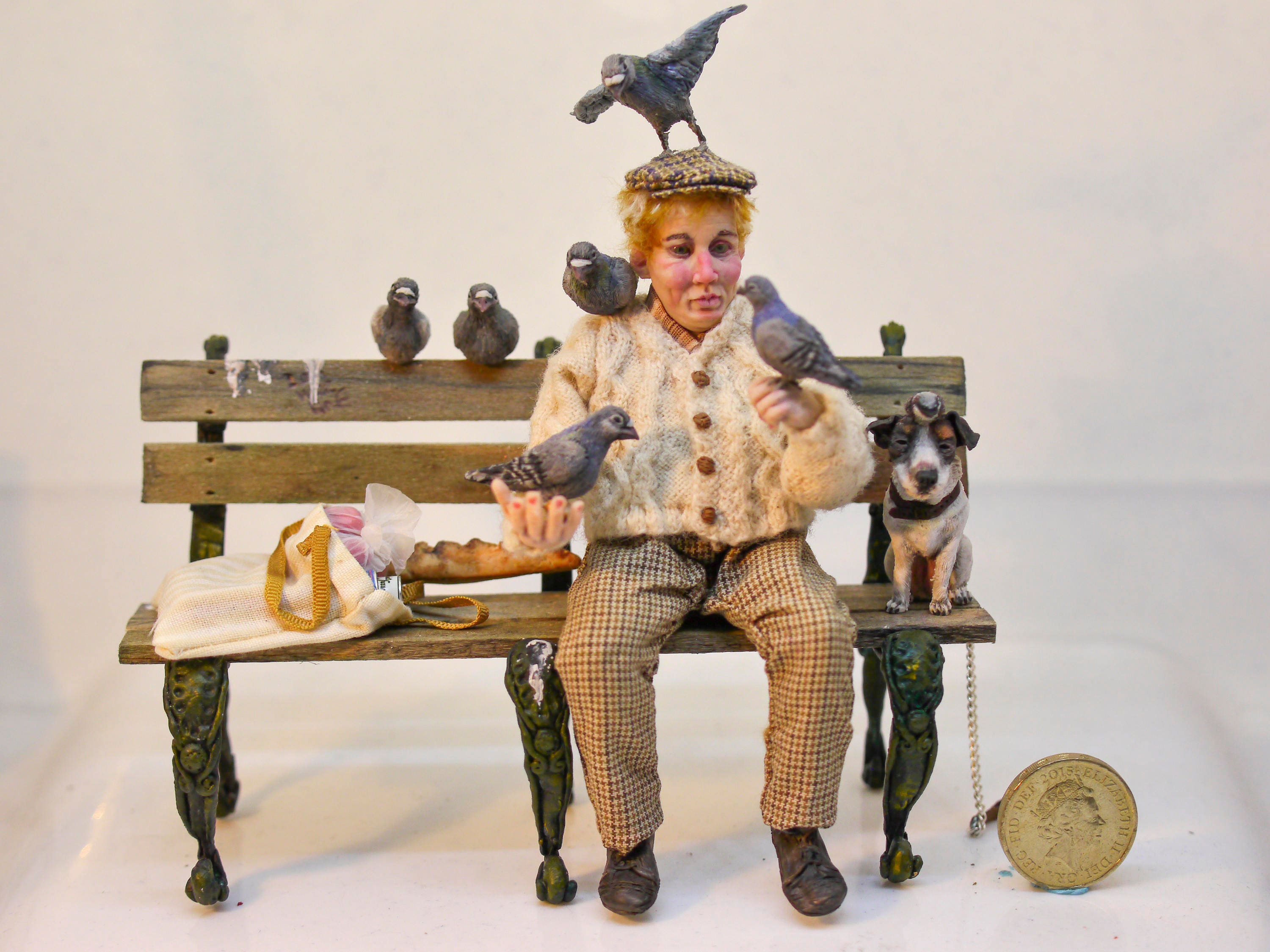 112th Pigeon man and friends. OOAK polymer clay dolls house collectible