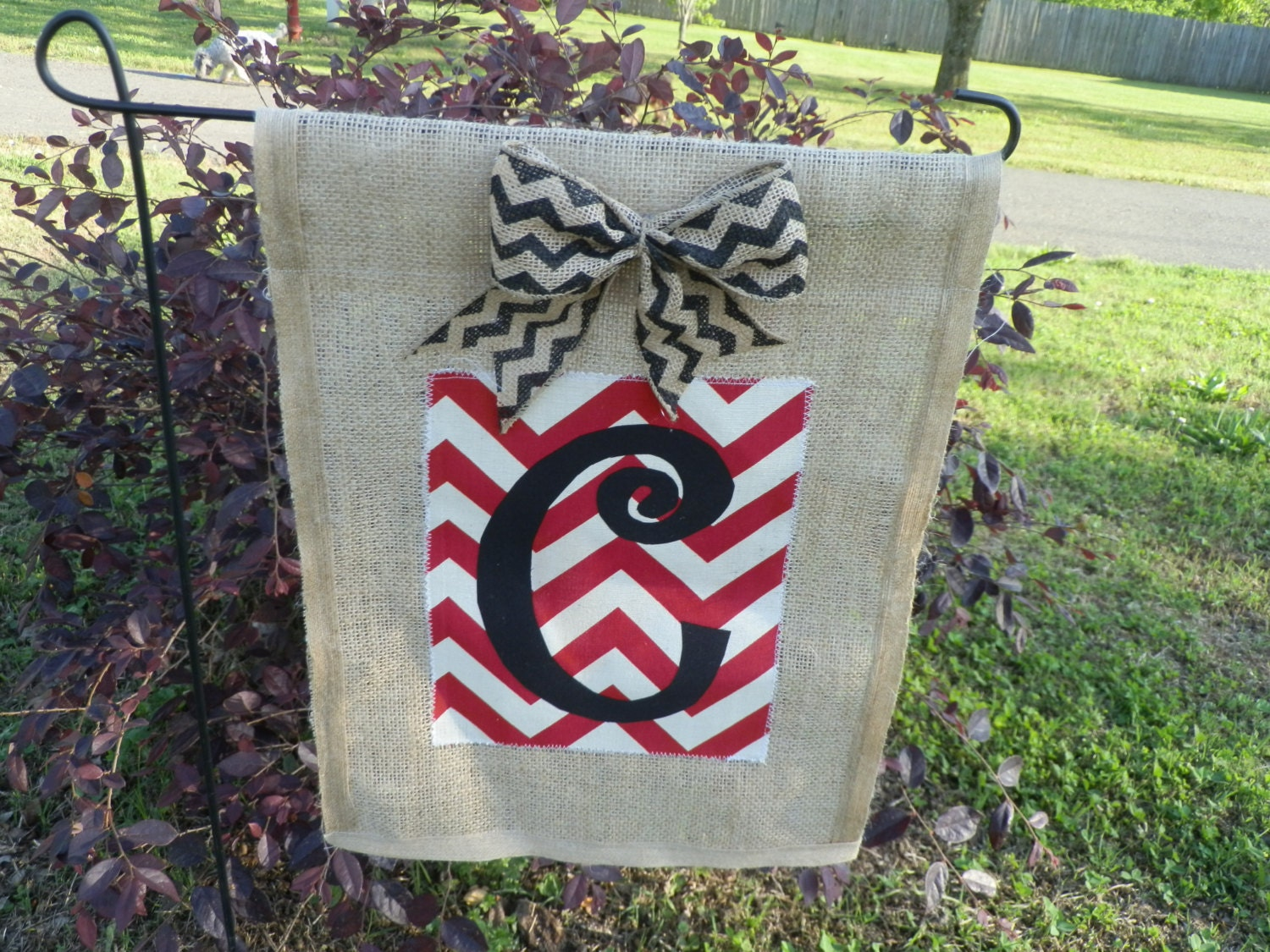 Burlap Monogram Garden Flag Personalized Flag By Floraldesigns
