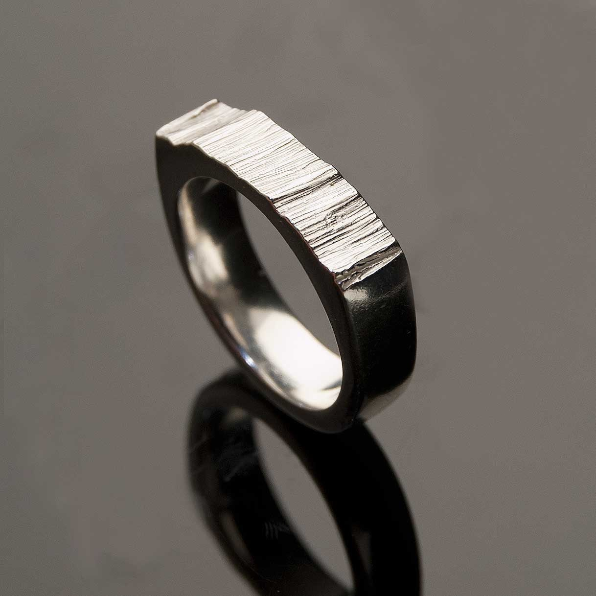 Wide Saw Cut Men 39s Wedding Ring Sterling Silver Textured Modern Wedding