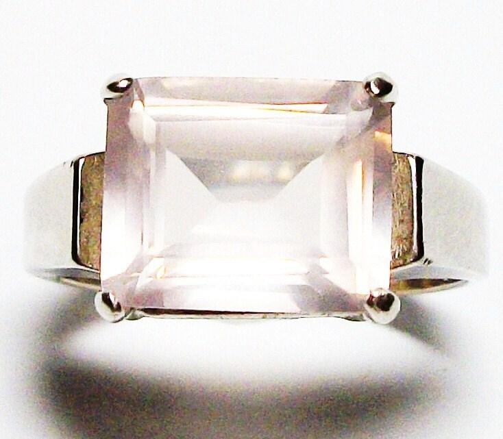 "Pink quartz ring,  milky quartz ring,  s 7 1/2    ""Pink Cotton"" - Michaelangelas"