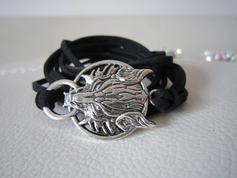 Cool black  wrap bracelet,  wolf - elf1913