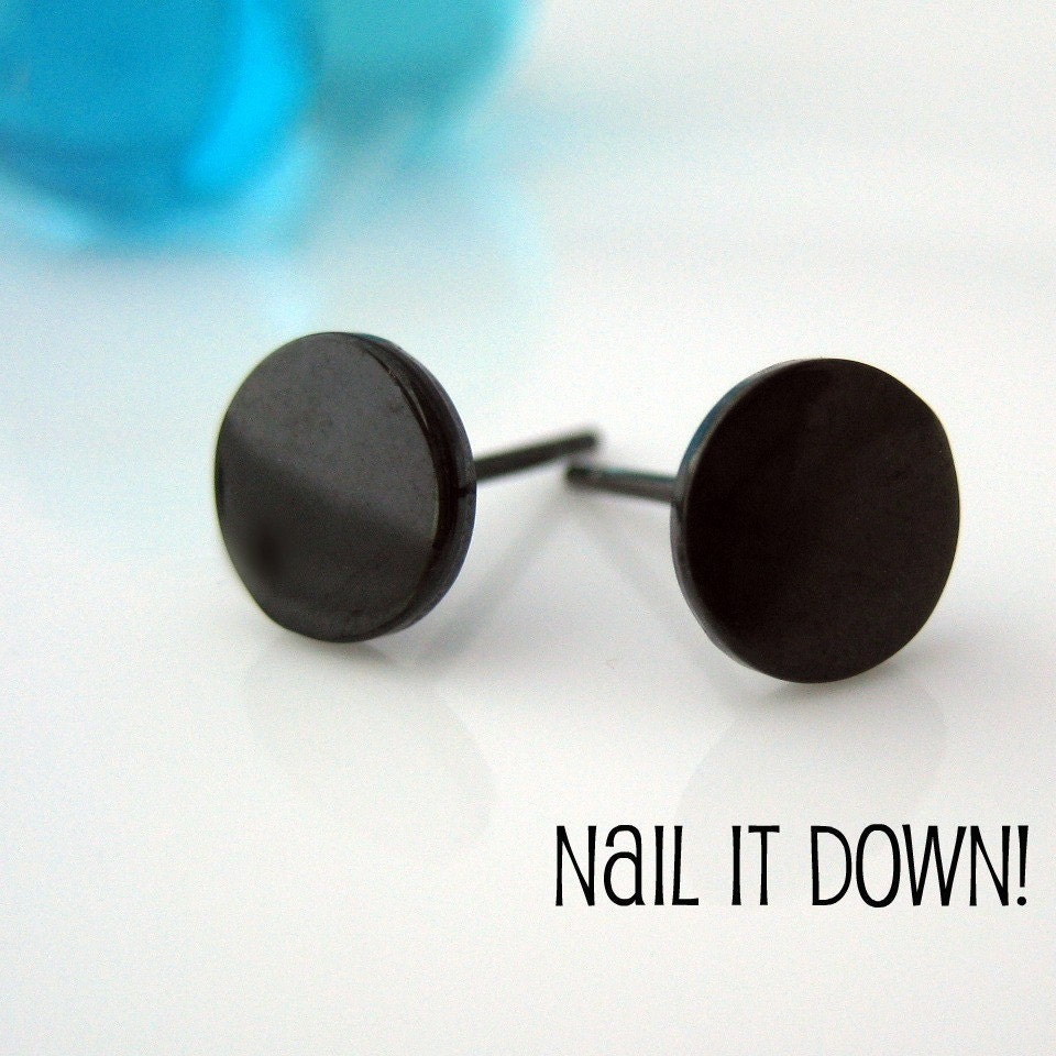 Mens Earrings Black Stud Earrings for Men Nail It by 360Jewels