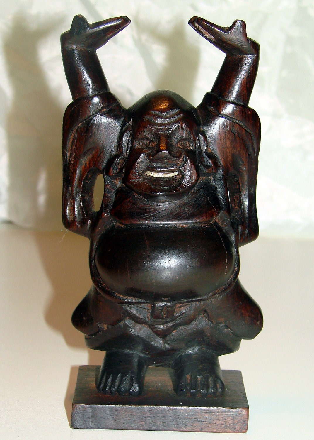 Carved Laughing Hotei Wood Buddha - AntiqueAlchemists