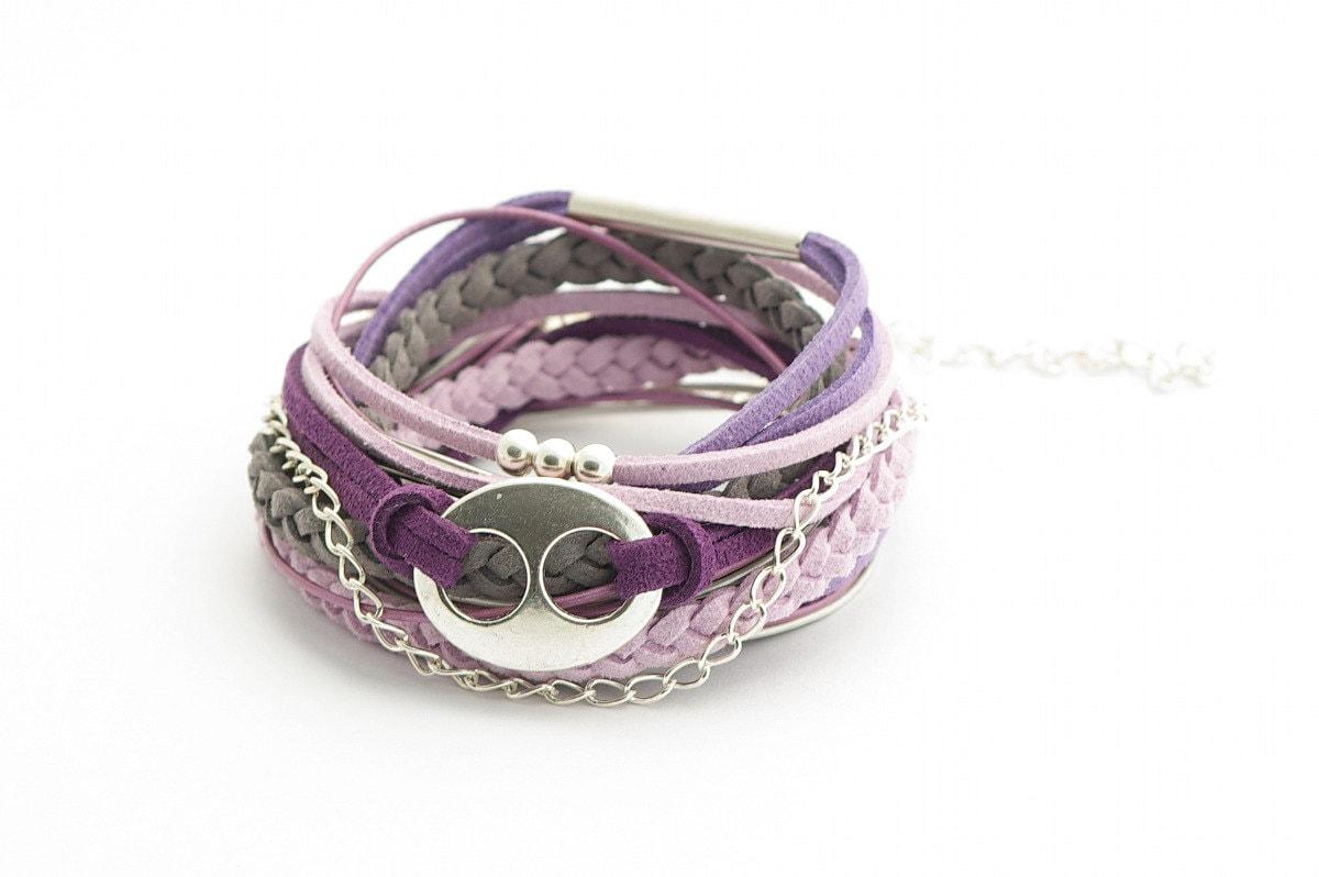 Wrap Bracelet, Pale Violet, Violet, Gray  Wrap Bracelet, Leather wrap, Boho bracelet, suede, double wrap, boho chic - cardioceras
