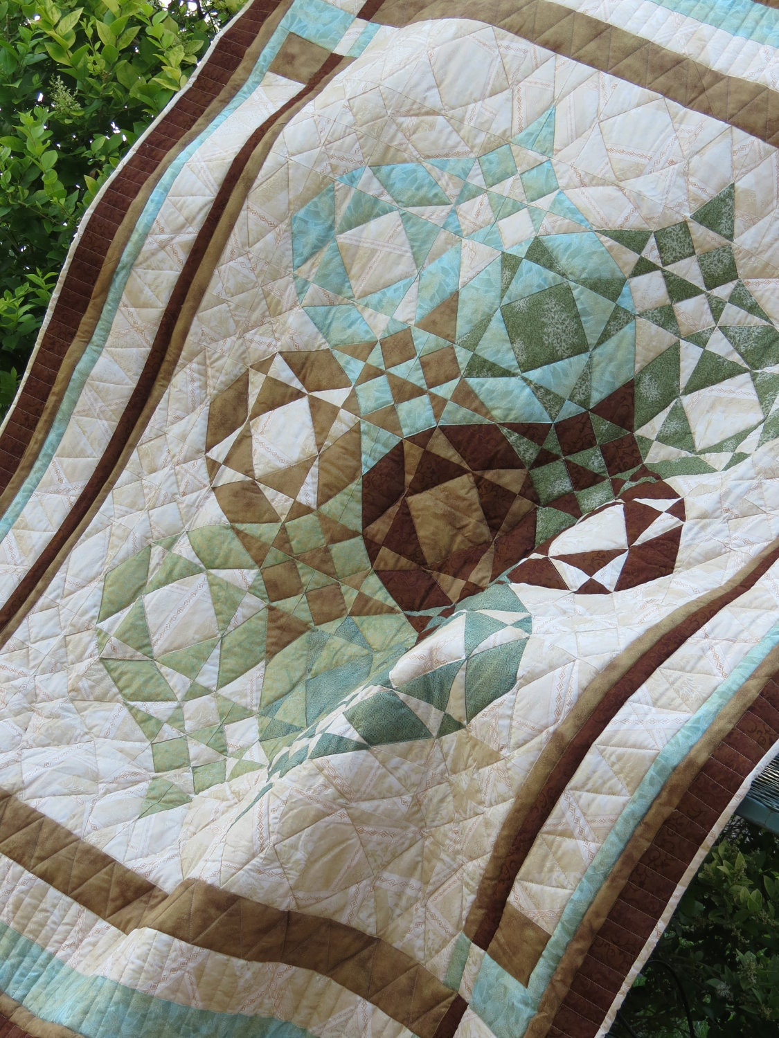 Quilt, Japanese Lantern, Aqua, Brown, Green - CocobytheLake