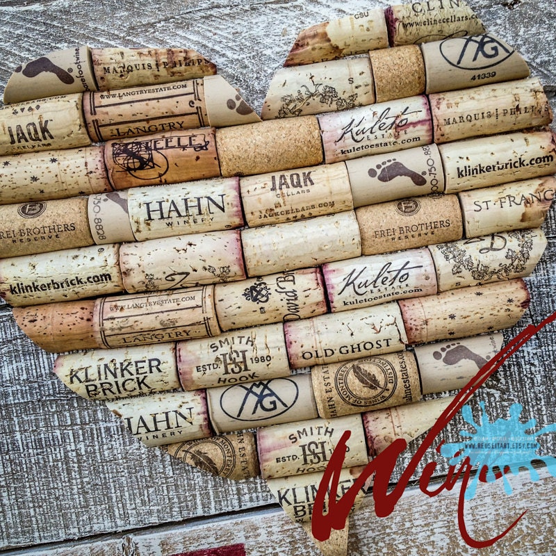 Wine Corks Heart Upcycled Pallet Art Wall Decor Choose Lustre Fine Art Print or Gallery Wrapped Canvas - ReUseItArt