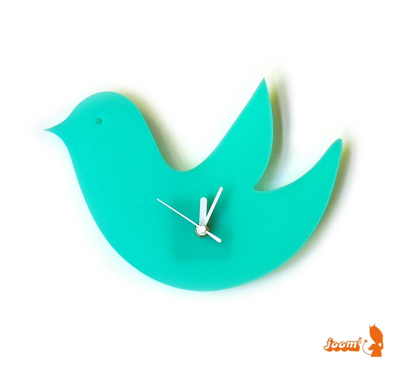 Mint Green Birdie Wall Hanging Clock - joom