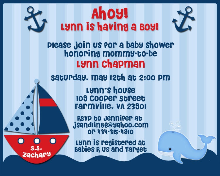 ahoy its a boy nautical theme baby shower invitations for jennypenny7