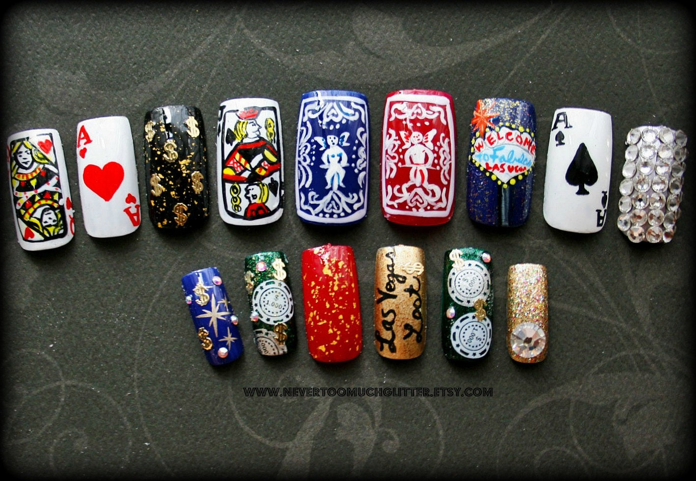 Vegas Inspired Nail Art Viva Las Vegas Nails Nailart Nailed By Deshea