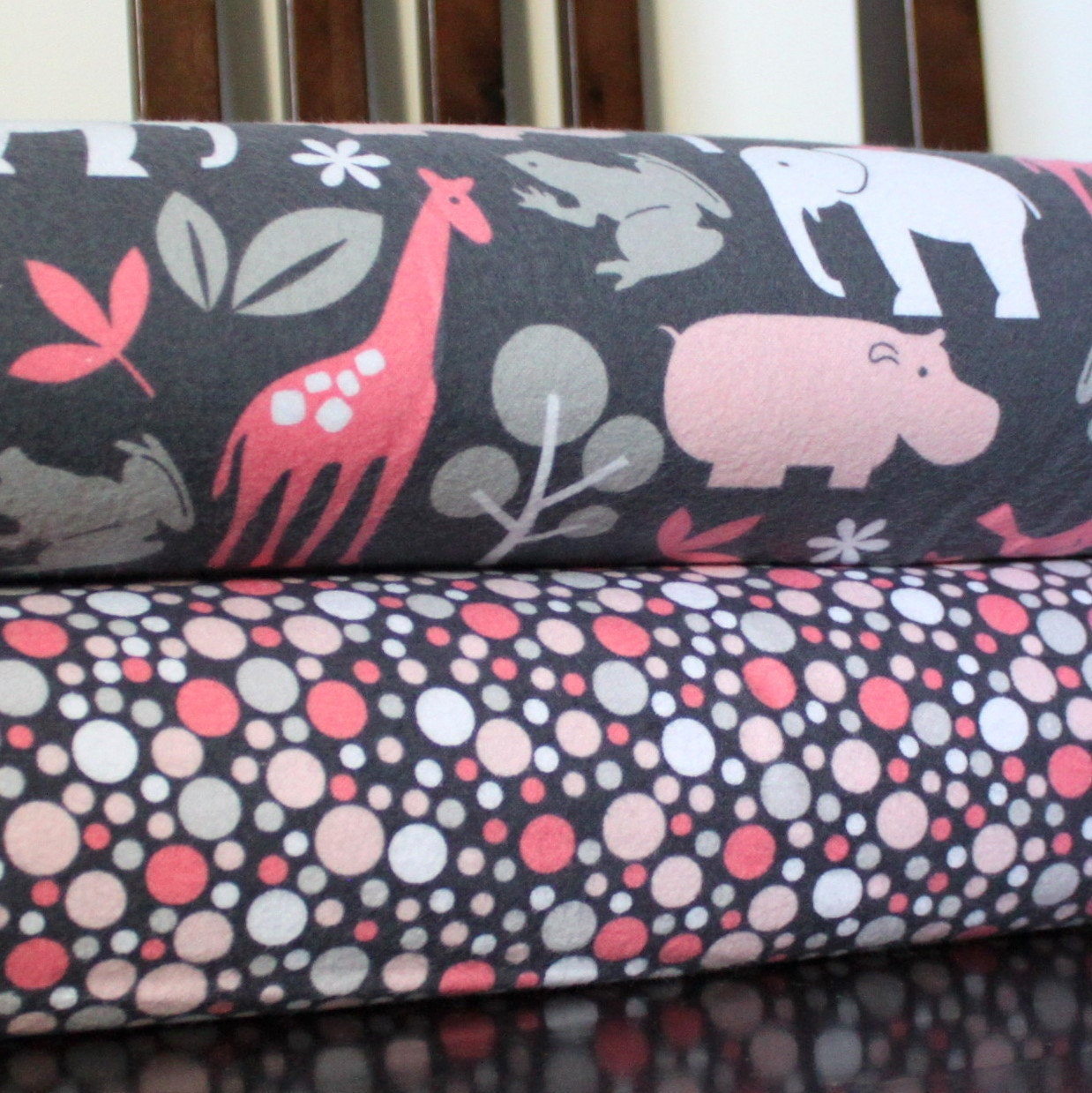 Pink and Grey Jungle Animal and Dot Flannel Blanket Bundle, 2 Yards