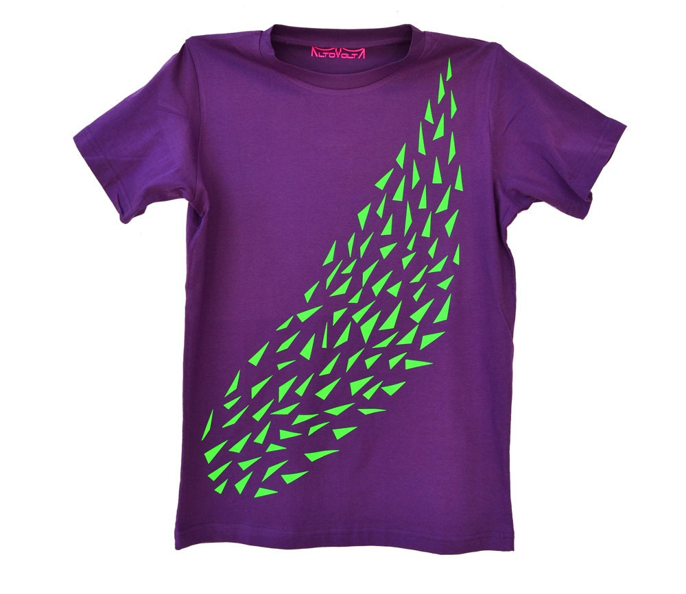 Men 39 s purple tshirt with school of green neon fish by for Bright purple t shirt