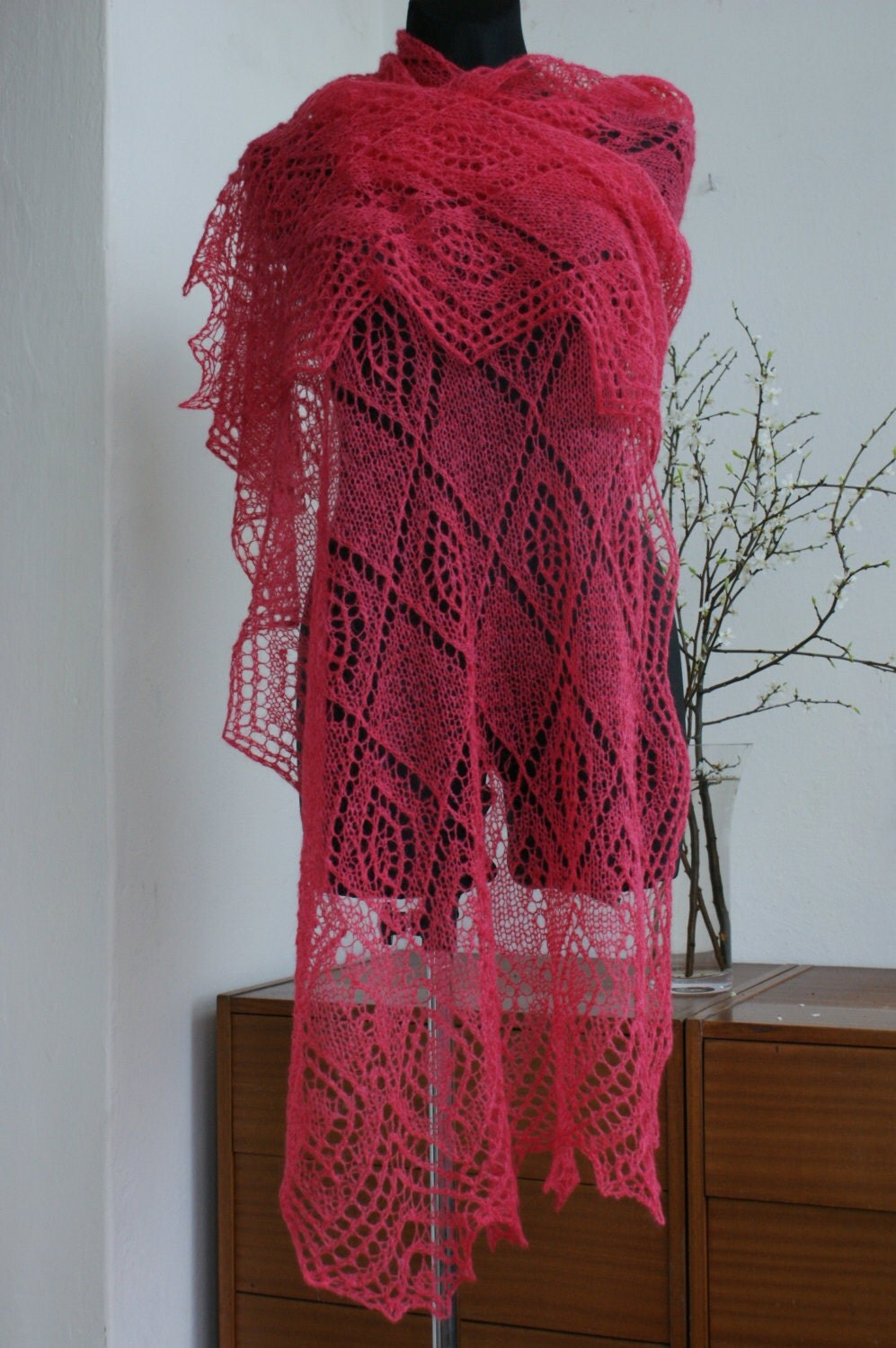 SALE!!!  Raspberry Hand Knitted Lace Stole - AnazieArtDesign