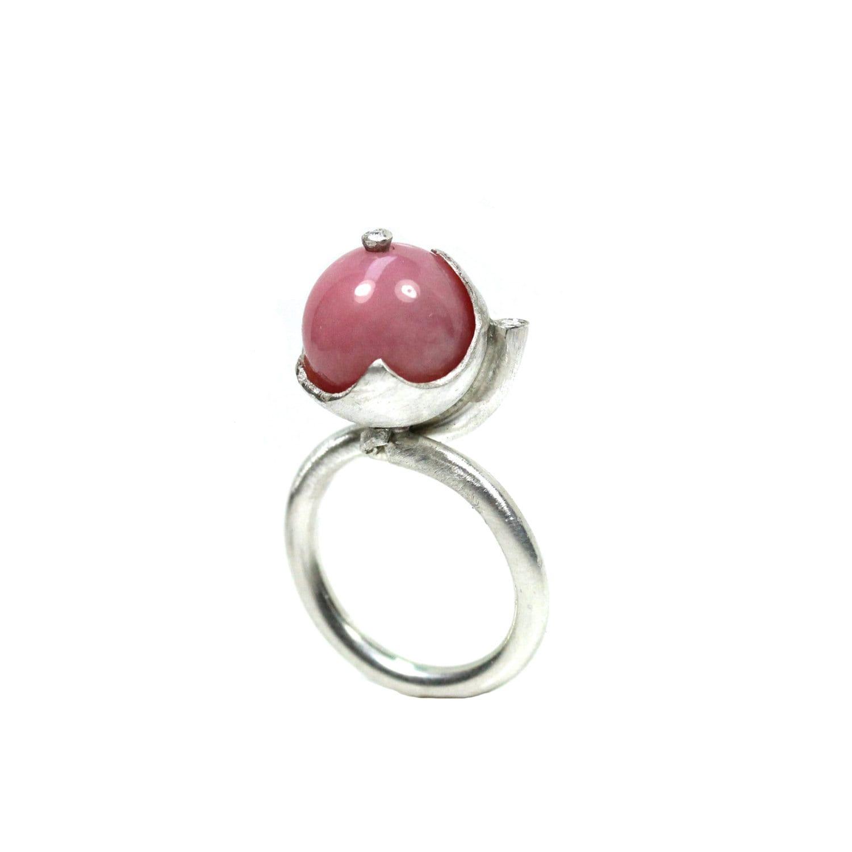 Feminine Pink Opal Diamond Silver Ring - Rosenkelch - NangijalaJewelry
