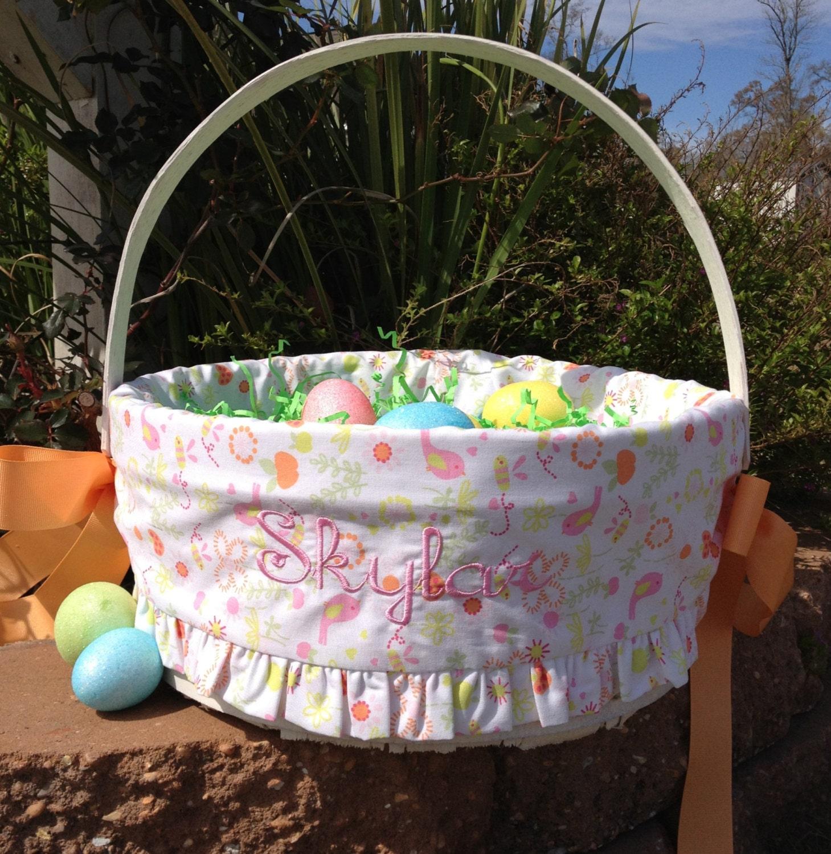 Personalized easter basket usa made girls by monkeydoodlekids - Custom made easter baskets ...