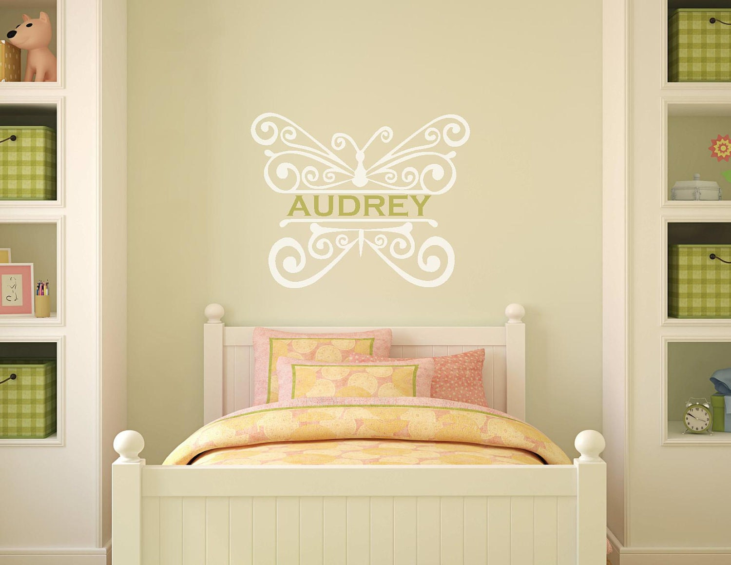 Filigree Butterfly Wall Decal With Custom Name by GoodMommyLtd