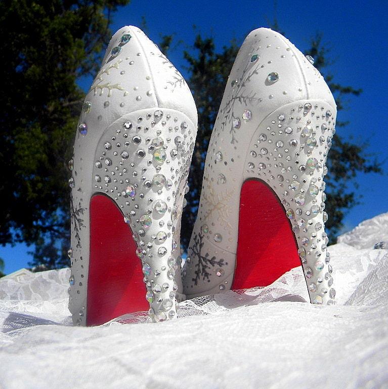 Wedding Shoes Snowflakes Winter Wedding Red Soles By Norakaren