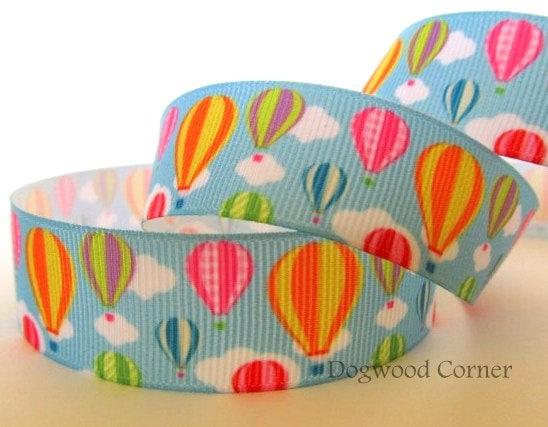 """FREE SHIPPING - 5 Yards  - 7/8"""" - Summer Rainbow Hot Air Balloon Cloud Ribbon - Make Hair Bows, Scrapbook, Sewing, Crafts. - Dogwoodcorner"""