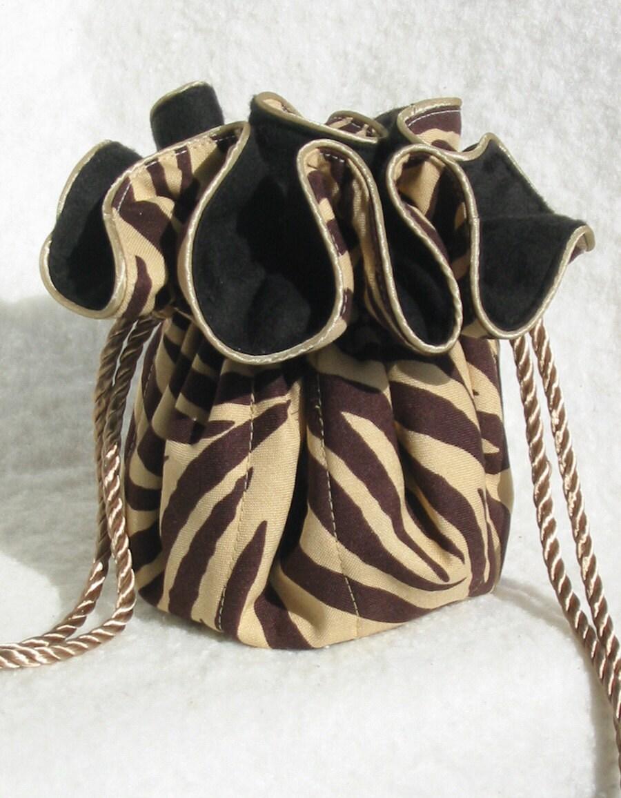 Прекрасный организатор путешествия Ювелирные Чехол в борьбе налет коричневый Zebra