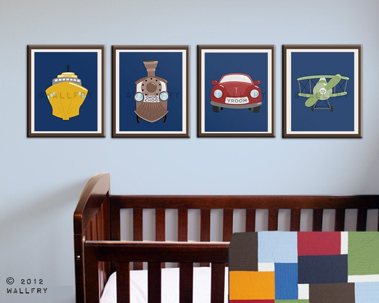 Nursery Wall Decor Transportation : Transportation prints boys wall art for nursery and by