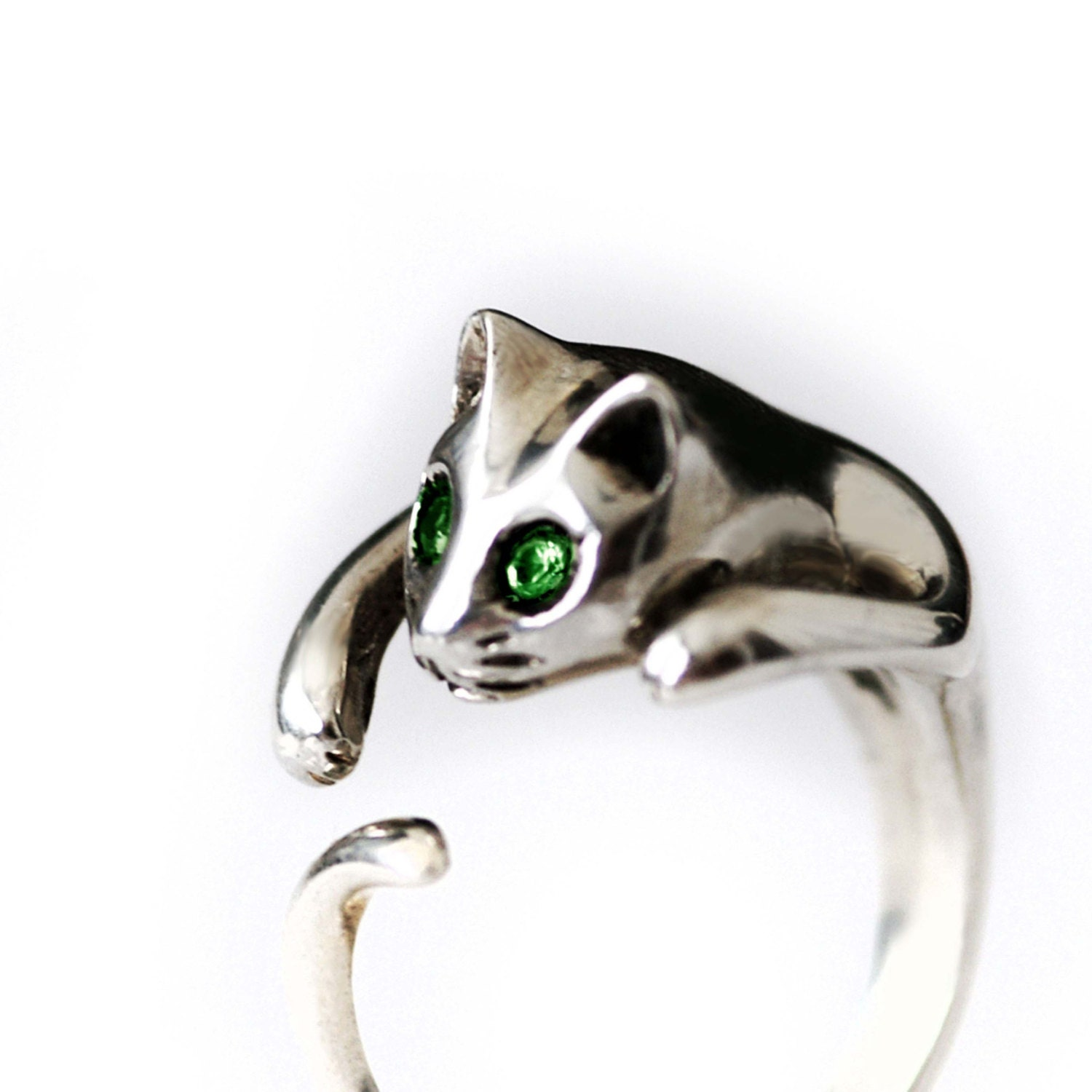 sterling silver cat ring by lubajewelry on etsy