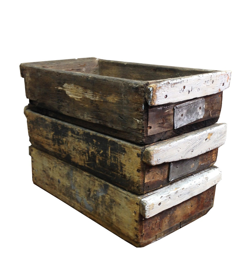 Vintage Industrial Wooden Crate -- Rustic Wood Storage Box - AuroraMills