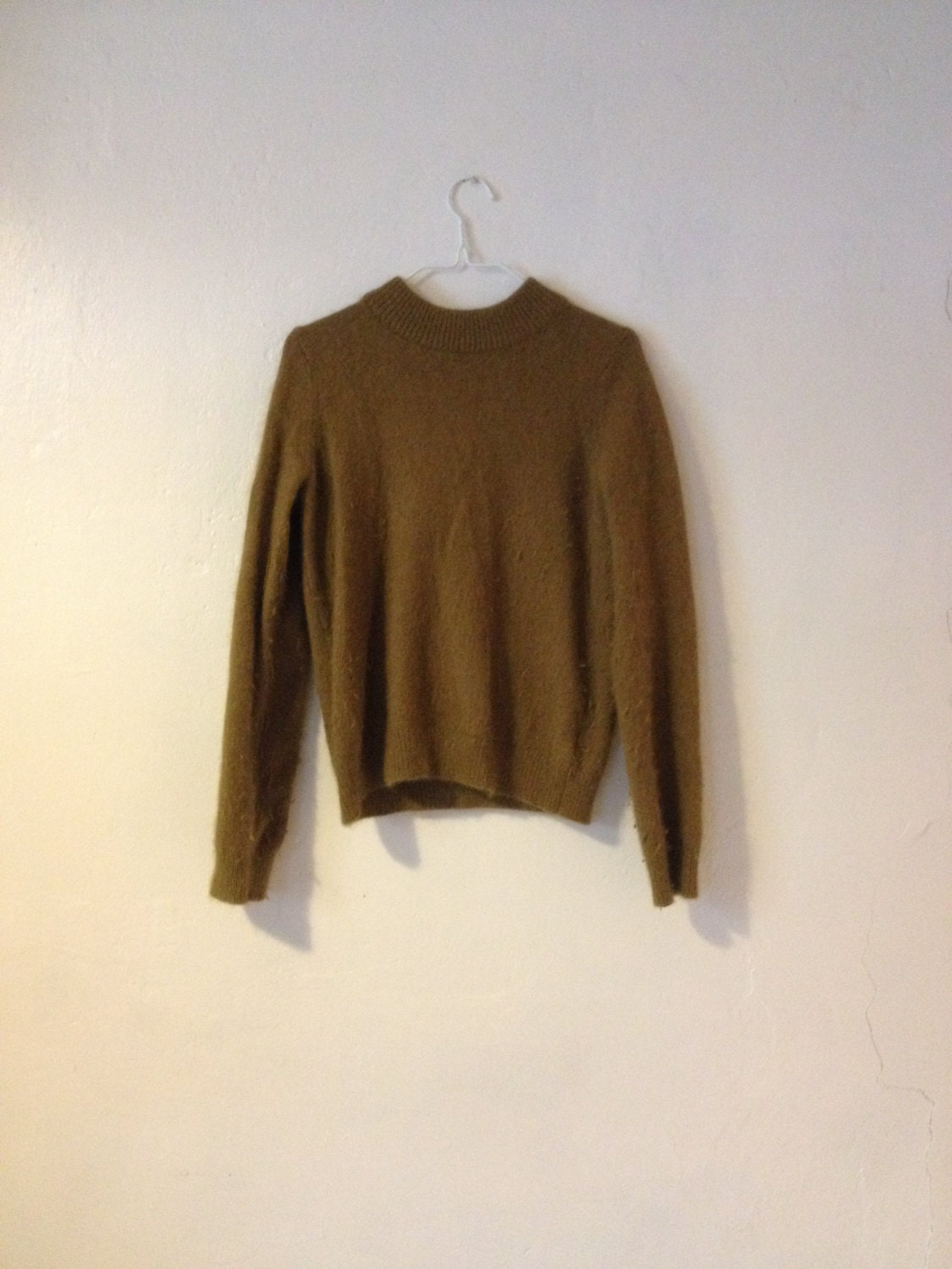 Angora Blend Dark Olive Sweater Jumper Round Neck