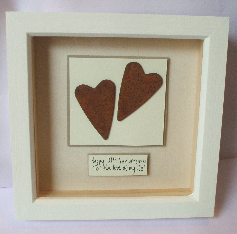 Rusty Tin Hearts 10th Wedding Anniversary Gift Keepsake