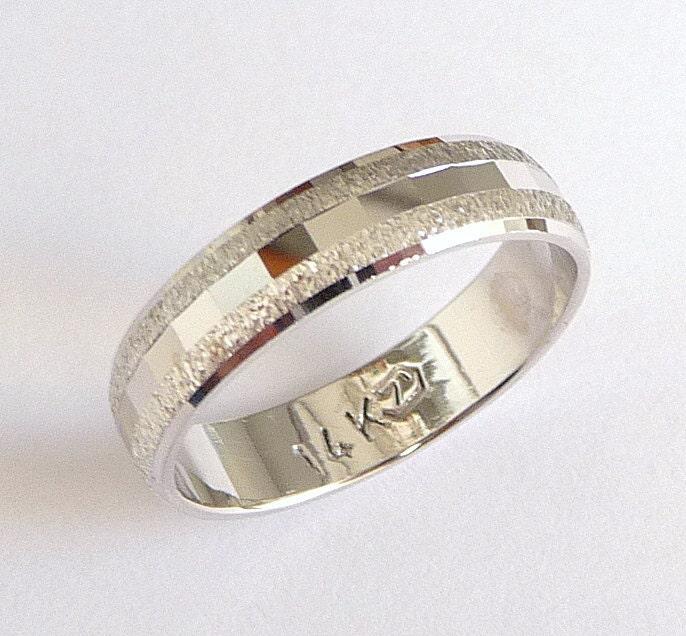 White Gold Wedding Band For Men Women Wedding Ring By Havalazar