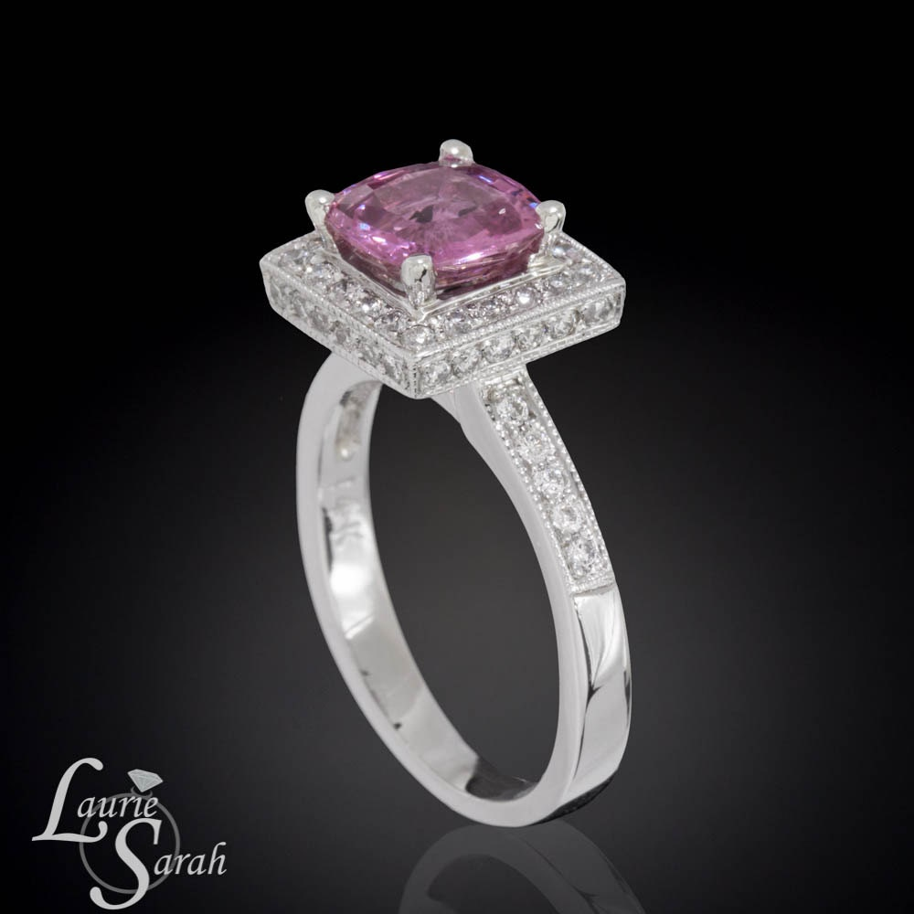 cushion cut pink sapphire engagement ring by