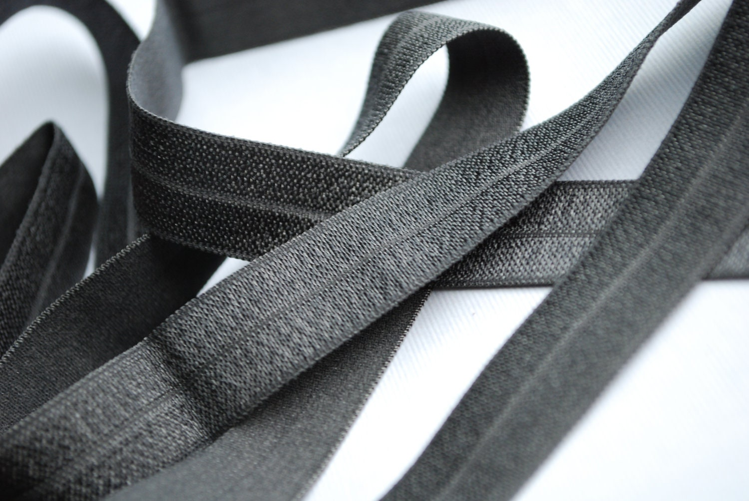 5/8 inch Fold Over Elastic - 5 Yards Charcoal Grey