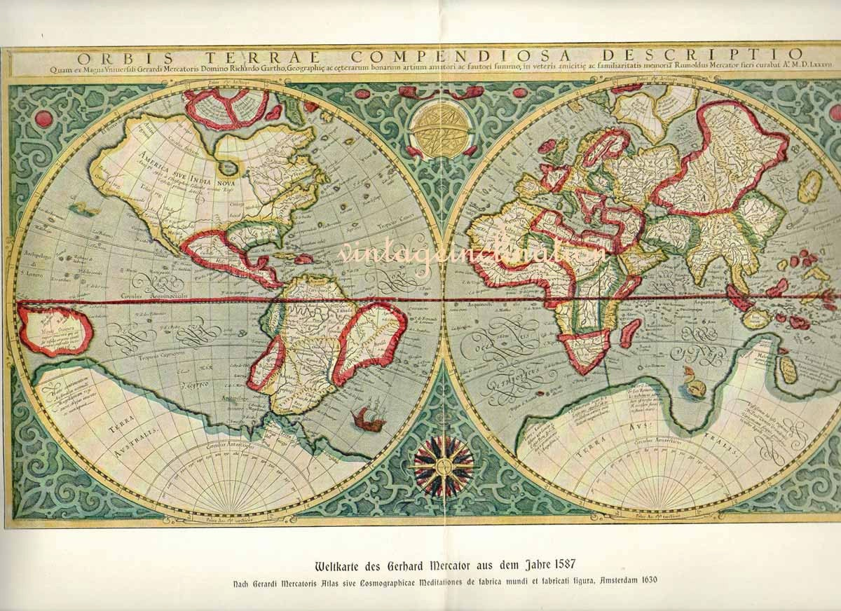 Antique World Map 1900 PRISTINE CONDITION by VintageInclination