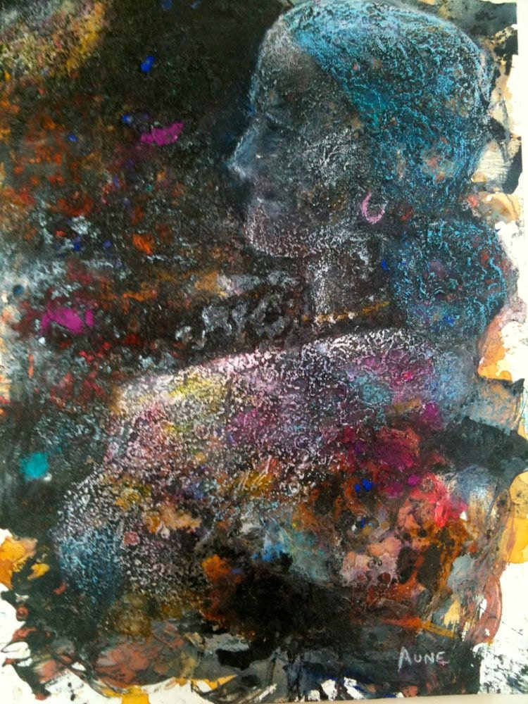 Abstract Painting Large textured blue,pink,black Mixed Media Original