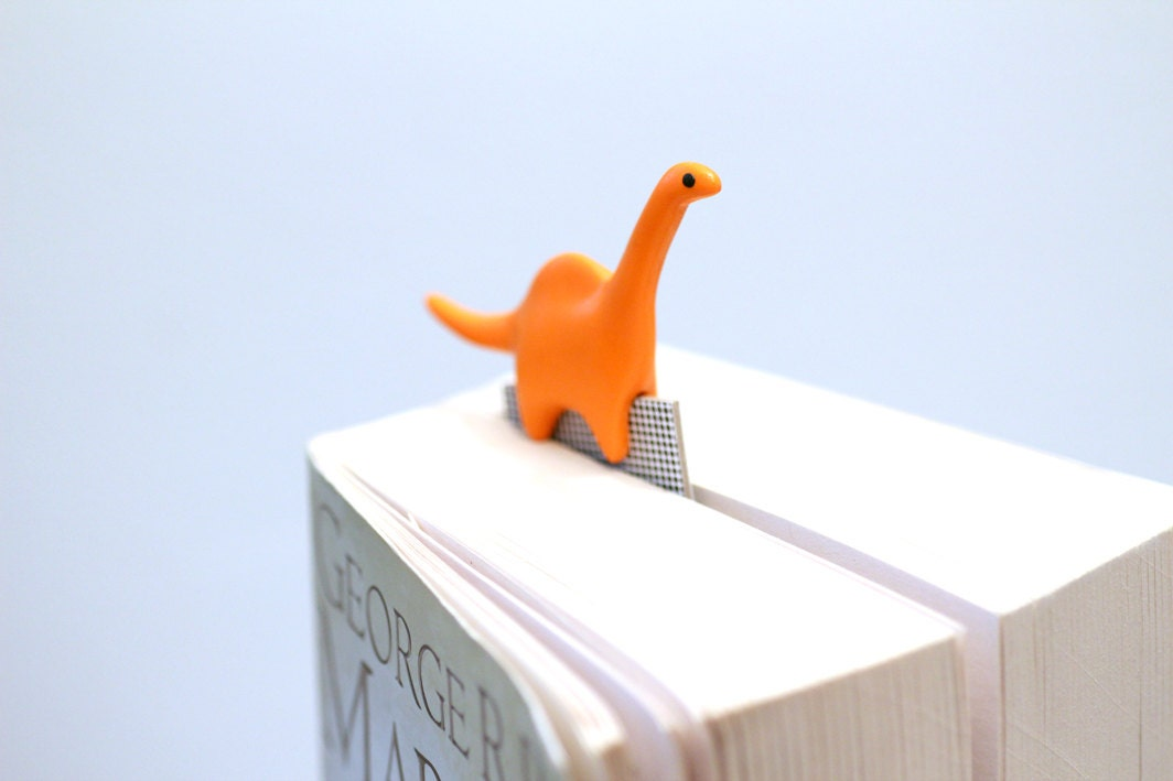 Dinosaur bookmark, orange jurassic polymer clay animal, fun gift,