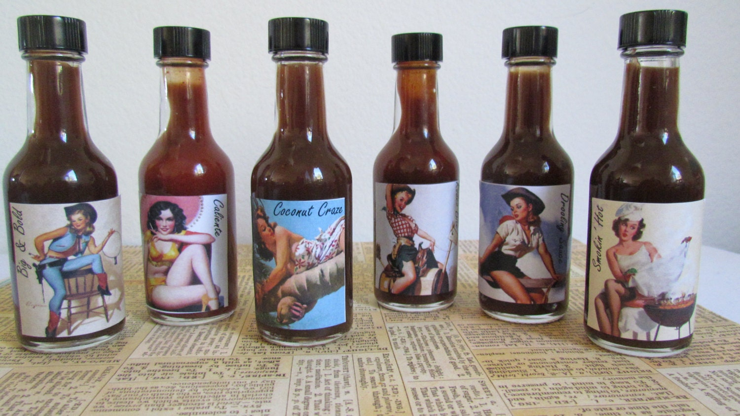 "BBQ Sauces Gift Set ""Pin up Girls"" perfect for dad, husband, boyfriend, grill master, foodie, Valentines Day Gift Basket - InNonnasKitchen"